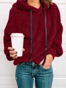 Wine Red Patchwork Drawstring Hooded Going out Sweatshirt