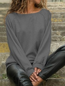 Dark Grey Round Neck Long Sleeve Fashion Pullover Sweatshirt