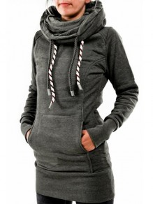 Grey Pockets Drawstring Print Hooded Long Sleeve Casual Sweatshirt