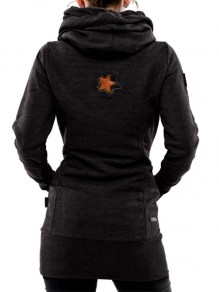 Black Pockets Drawstring Print Hooded Long Sleeve Casual Sweatshirt