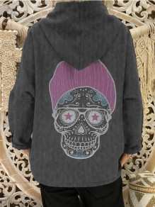 Grey Patchwork Print Hooded Fashion Sweatshirt