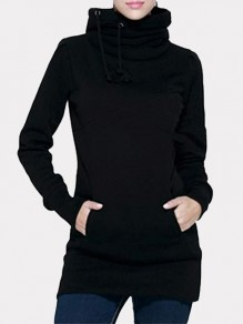 Black Pockets Drawstring Hooded Long Sleeve Fashion Sweatshirt