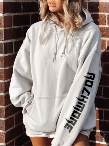 White Floral Pockets Drawstring Hooded Fashion Sweatshirt