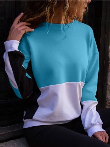 Blue White Color Block Print Round Neck Long Sleeve Pullover Sweatshirt