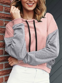 Pink Patchwork Cut Out Long Sleeve Round Neck Streetwear Sweatshirt