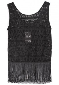 Black Plain Tassel Sleeveless Lace Vest