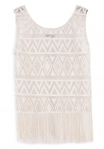 Beige Plain Tassel Sleeveless Lace Vest