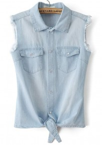 Blue Plain Pockets Buttons Denim Vest