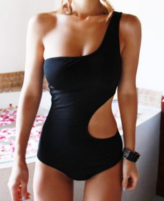 Black Plain Cut Out Asymmetric Shoulder Sexy Swimwear