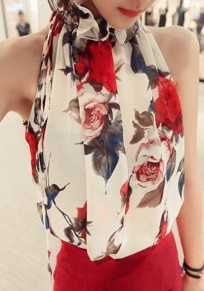 White Floral Pattern High Neck Casual Chiffon Vest