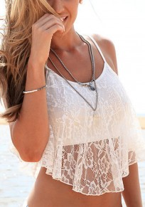 White Patchwork Lace Condole Belt Draped Irregular Vest