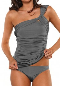 Grey Plain Irregular Pleated Retro One Shoulder Two Piece Skinny Dacron Swimsuit Swimwear