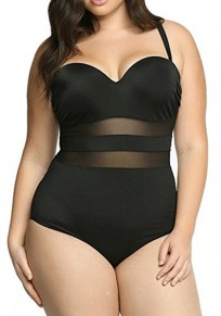 Black Plain Grenadine Condole Belt Plus Size Swimwear