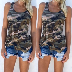 Green Camouflage Round Neck Loose Thin Casual Vest