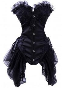 Black Patchwork Lace Collarless Vintage Slim Polyester Vest