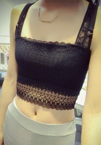 Black Patchwork Hollow-out Lace Bow Condole Belt Vest