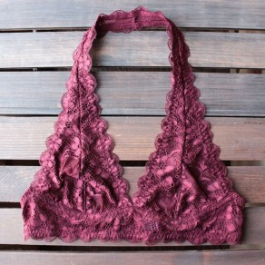 Wine Red Plain Lace Backless V-neck Slim Vest