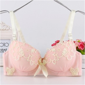 Pink Floral Lace Condole Belt V-neck Slim Vest