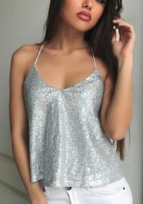 Silver Plain Condole Belt Sequin V-neck Sexy Vest