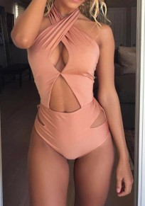 Pink Plain Cut Out V-neck Slim Swimwear
