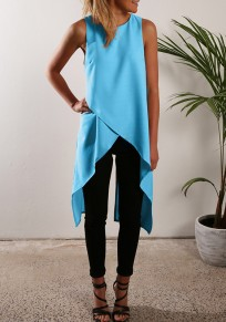 Blue Plain Irregular Zipper Slit Round Neck Fashion Vest