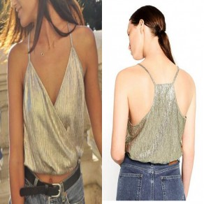 Light Green Plain Spaghetti Strap Gilding Oversized Crop Vest