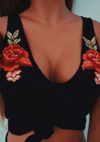 Black Flowers Embroidery Multi Deep V Casual Way Vest
