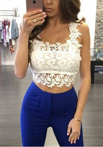 White Patchwork Lace Hollow-out Spaghetti Strap Crop Backless Vest