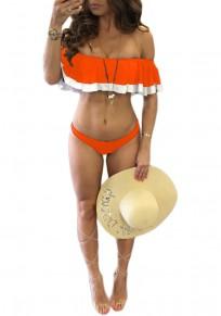 Orange Flickwerk Rüsche 2-in-1 Ernte Boots-Hals-dünne Badebekleidung