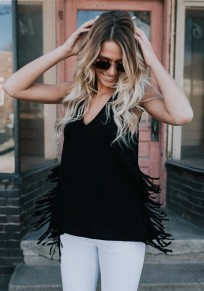Black Tassel Irregular Side Slit V-neck Fashion Loose Vest