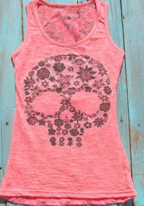 Pink Patchwork Lace Hollow-out Skull Print Plus Size Vest
