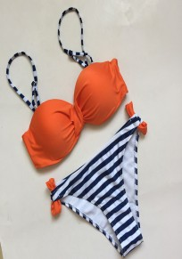 Orange Striped Print Patchwork Spaghetti Strap Slim Swimwear