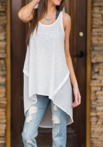 White Patchwork Irregular High-low Round Neck Oversized Casual Vest