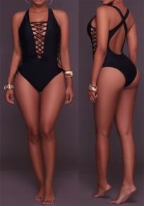 Schwarze ausgeschnittene Kreuzrückseite Rückenfrei Ein Stück Multi Way Badebekleidung