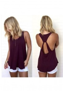 Wine Red Cut Out Round Neck Fashion Vest