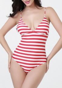 Traje de baño rayado espalda cruzada parte posterior del lazo escote una pieza rojo-blanco