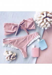 Pink Patchwork Bow Bandeau 2-in-1 Casual Slim Swimwear