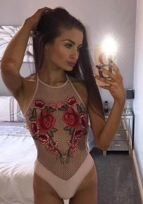 Pink Floral Hollow-out Round Neck Slim Casual Swimwear