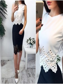 White Hollow-out Round Neck Fashion Slim Thin Vest