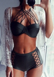 Black Hollow-out Tie Back 2-in-1 V-neck Slim Swimwear