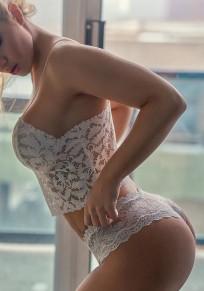 White Floral Lace Deep V-neck Spaghetti Strap Backless Crop Slim Vest