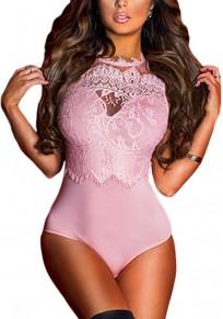 Pink Patchwork Cut Out Lace Backless Bikini Swimwear