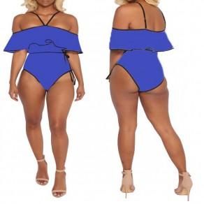 Blau Schwarz Flickwerk Rüschen Schärpe Spaghetti Bügel Ein Stück Bikini Bademode