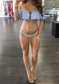 Blue Ruffle Bandeau Tie Back Off Shoulder Two Piece Bikini Swimwear