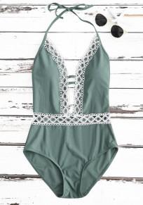 Grüne Flickwerk Spitze Bindung zurück einteilige Bikini-Badebekleidung