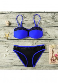 Blue Patchwork 2-in-1 Tie Back Condole Belt V-neck Swimwear