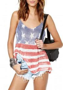 Multicolor Striped American Flag Print Backless Deep V-neck Casual Vest