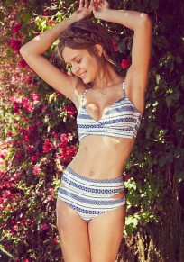 Blue-White Striped Geometric Print Cut Out Tie Back Halter Neck Bikini Swimwear