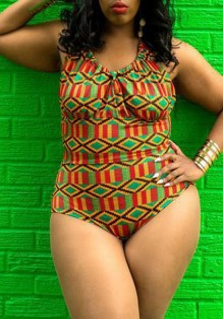 Green Floral Print Plus Size Halter Neck Backless One Piece Bikini Swimwear