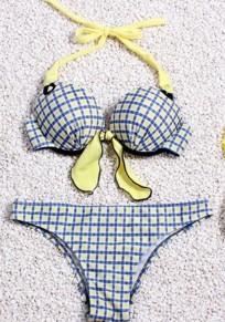 Blue Plaid Print 2-in-1 Paghetti Strap Bikini Swimwear